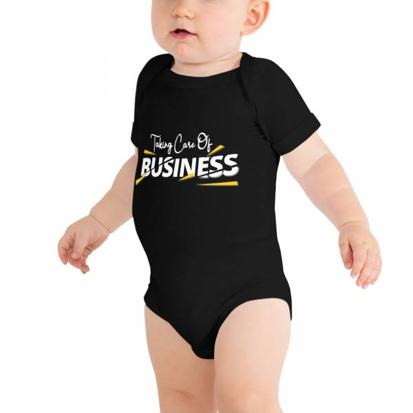 Taking Care Of Business Baby Short Sleeve One Piece Black