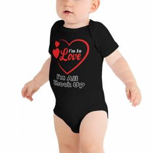 I m in Love Baby Short Sleeve One Piece Black