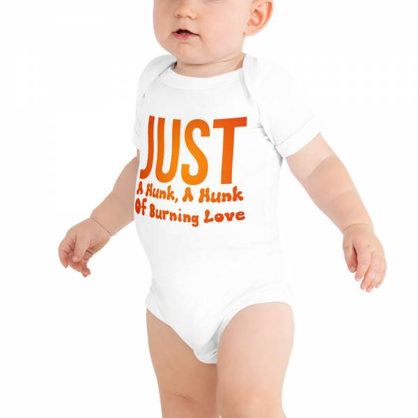 Just A Hunk Baby Short Sleeve One Piece White