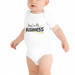Taking Care Of Business Baby Short Sleeve One Piece White