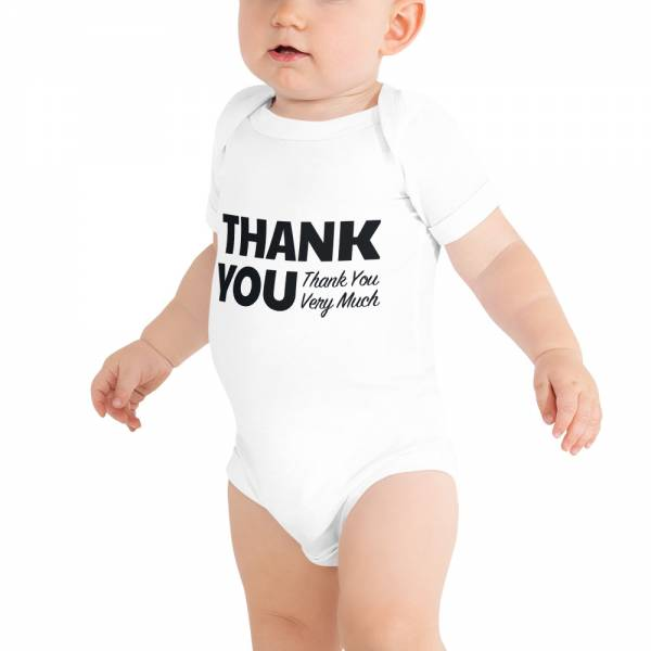 Thank You Baby Short Sleeve One Piece White
