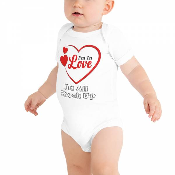 I m in Love Baby Short Sleeve One Piece White