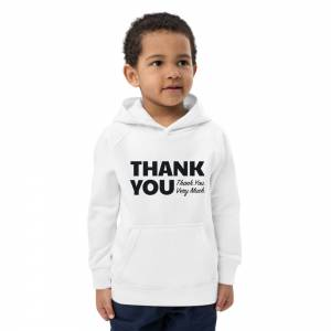 Thank You Thank You Very Much Kids Eco Hoodie White